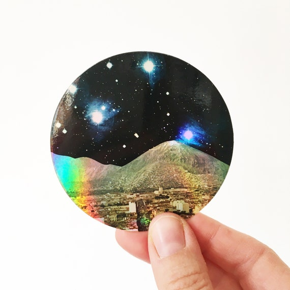 Holographic Space Sticker, Art Sticker, Device Decal - Space City