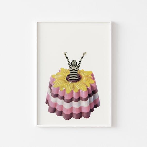 Retro Kitchen Decor, Food Art, Foodie Gift - Blancmange Surprise