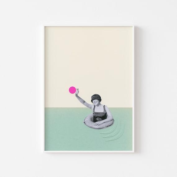 Swimming Pool Print, Bathroom Wall Decor, Female Portrait Art - Pool Days