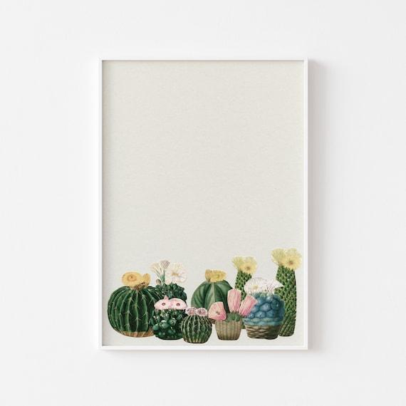 Cactus Print, Botanical Wall Art, Plant Prints - Cactus Garden