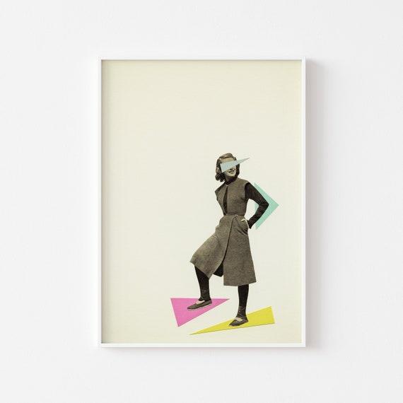 Female Portrait Print, Geometric Wall Art - Shapely Figure
