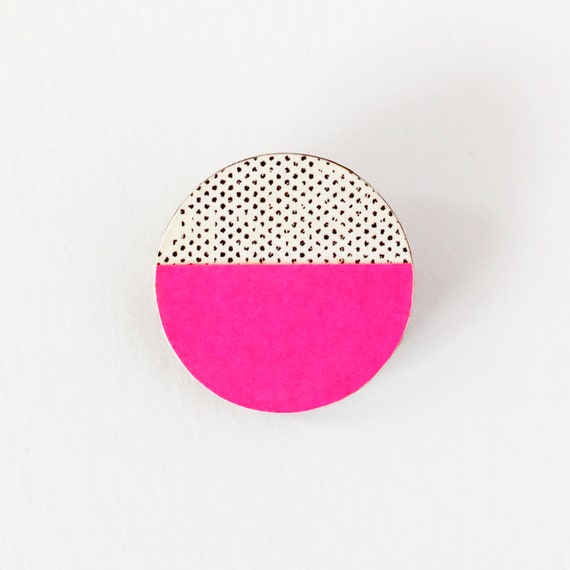 Wooden Brooch, Neon Pink Pin, 5th Anniversary Gift, Abstract Jewellery