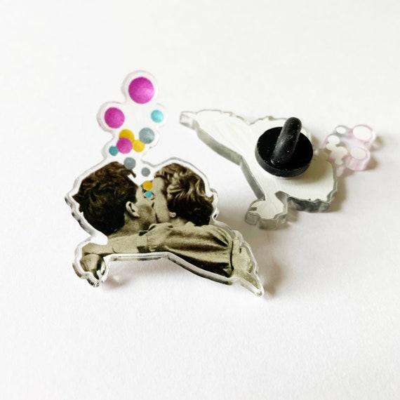 Love Acrylic Pin Badge, Stocking Stuffer - First Kiss