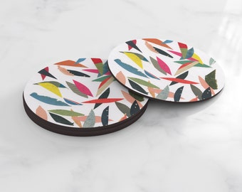 Colourful Coasters, Home Gifts, Tableware - Falling Leaves (White)