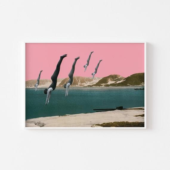 Lake House Decor, Diving Print, Surreal Art, Pink and Teal Decor - Dive
