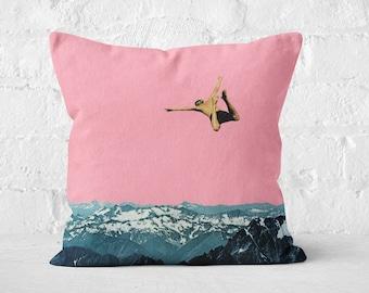 Mountain Velvet Cushion, Mid Century Decor, Pink and Blue Throw Pillow - Higher Than Mountains