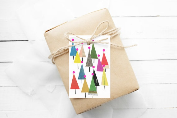 12 Christmas Gift Tags With String - Winter Forest