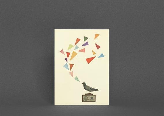 Bird Greetings Card, Kids Birthday Card, Music Card - Pigeon Radio