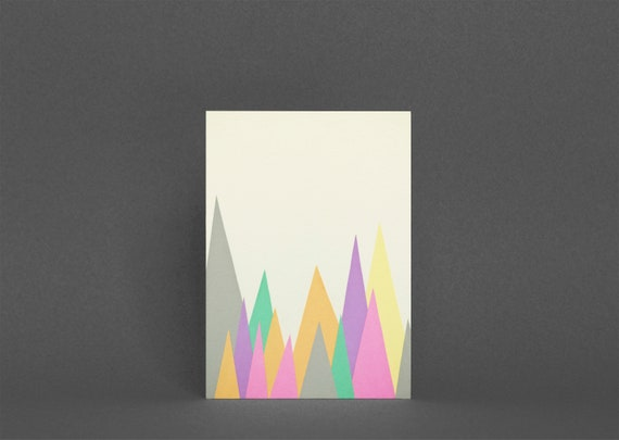 Abstract Mountain Card, Birthday Card - Pastel Peaks