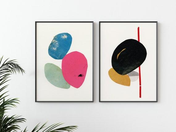 Abstract Print Set of 2, Mid Century Modern Art, Wall Art Set - Abstract