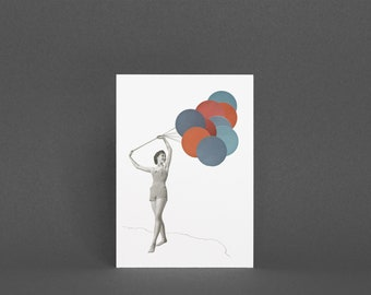 Summer Beach Card, Birthday Card for Friend - Balloons
