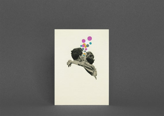 Romantic Greetings Card - First Kiss