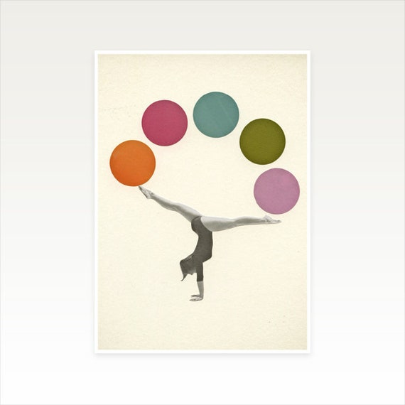 A4 Gymnastics Print, Female Portrait Art, Vintage Sport Art, Sale Item - Gymnastics