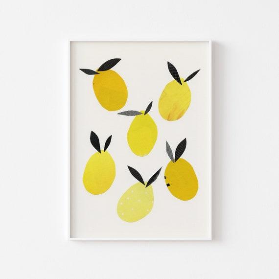 Lemon Print, Kitchen Wall Art, Chef Gift - Lemons