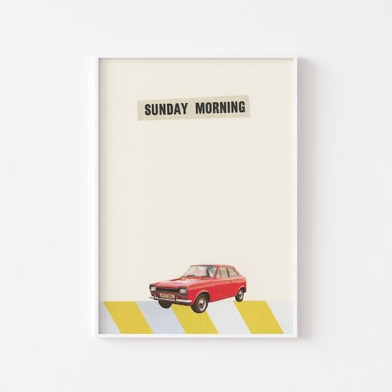 Retro Car Print, Contemporary Art, Dad Gift - Sunday Morning