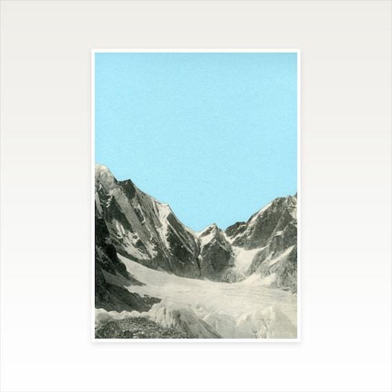 A3 Mountain Print, Blue Wall Art, Sale Items - Blue Skies