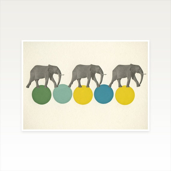 A5 Elephant Print, Kids Room Decor, Retro Wall Art, Sale Items - Travelling Elephants