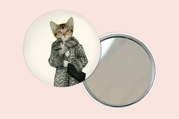 Cat Pocket Mirror 76mm / 3 inches - Kitten Dressed as Cat