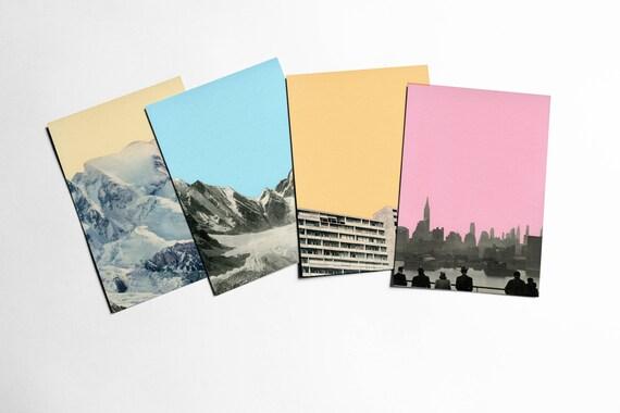 Postcard Set, Modern Stationery, Stocking Stuffer, Gift Ideas - Coloured Skies