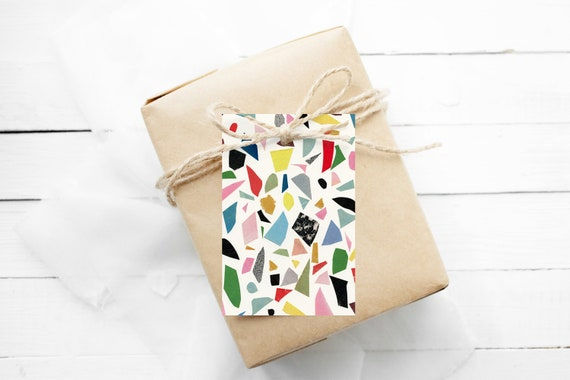 Modern Gift Tags, Hang Tags With String - Terrazzo (White)
