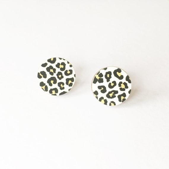 Leopard Print Earrings, Round Wood Earrings, Circle Studs