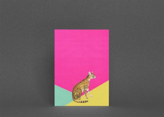 Leopard Card, Blank Greetings Card - Big Cat
