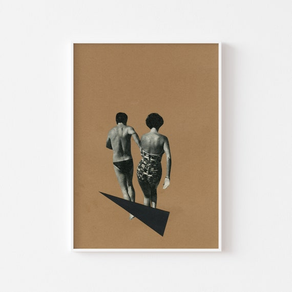 Beach Wall Art, 1st Anniversary Gift, Romantic Bedroom Art, Modern Love Art - Beach Romance