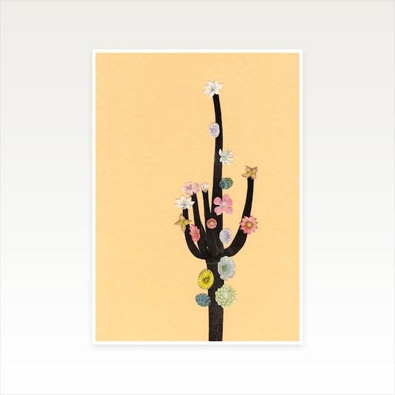 A4 Cactus Print, Nursery Decor, Girls Bedroom Decor, Sale Items - Flowering Cactus
