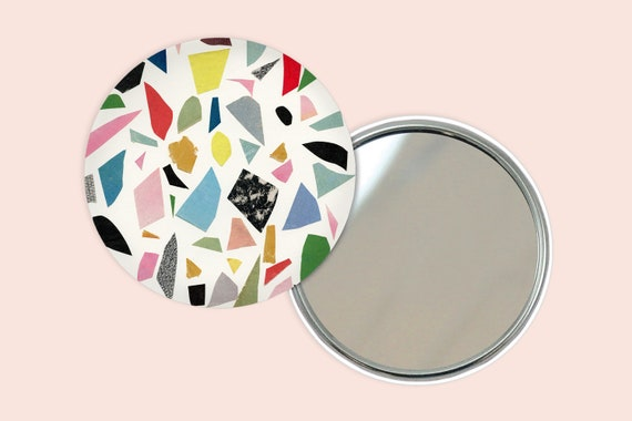 Abstract Pocket Mirror 76mm / 3 inches - White Terrazzo