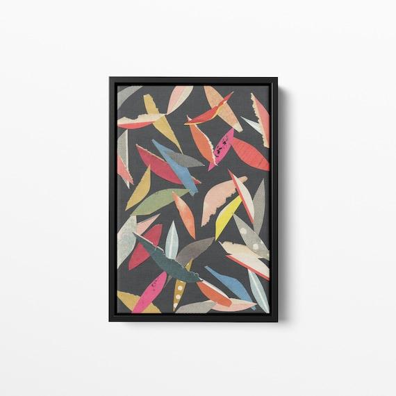 Float Framed Canvas - Falling Leaves Black