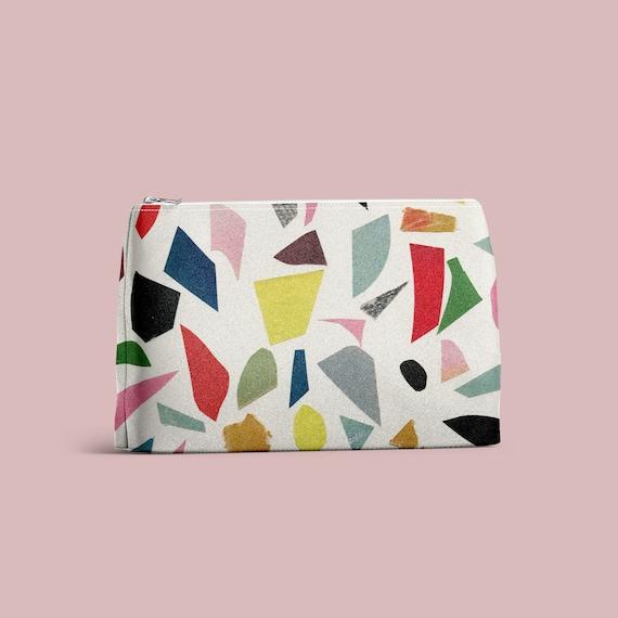 Wash Bag, Cosmetics Pouch - White Terrazzo