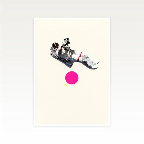 A4 Astronaut Print, Space Art, Kids Room Decor, Sale Item - Float