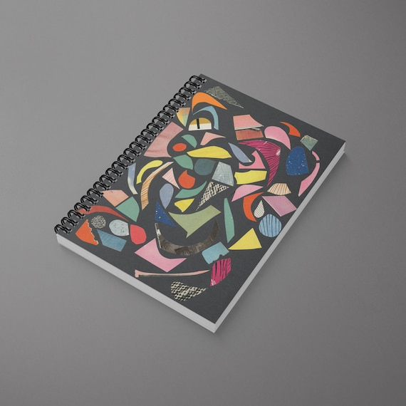 Abstract Spiral Notebook - Black Terrazzo