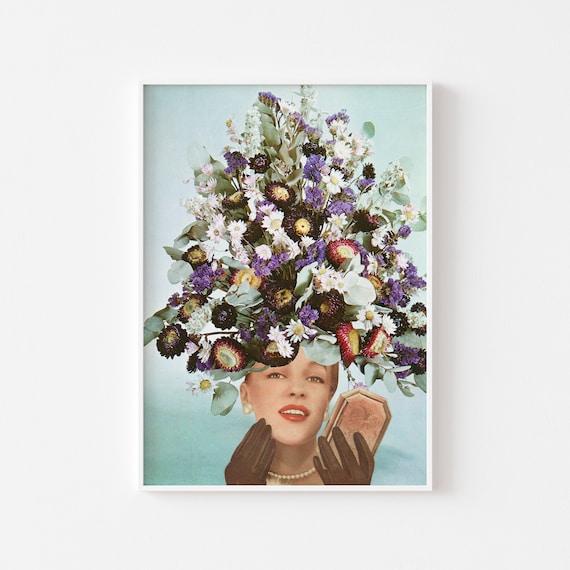 Surreal Art, Female Portrait, Flower Wall Art - Floral Fashions III