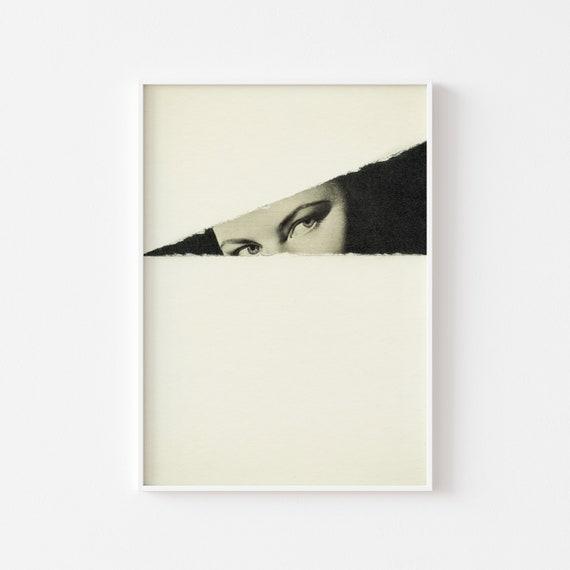 Female Portrait Print, Black and White Art, Mid Century Wall Decor - Hideaway