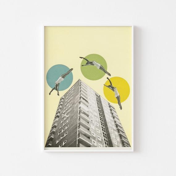 City Art, 50s Retro Decor, Architecture Print - High Flyers