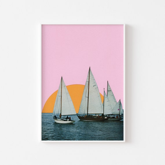 Boat Print, Nautical Wall Art, Gift for Boat Lover - Into the Sunset