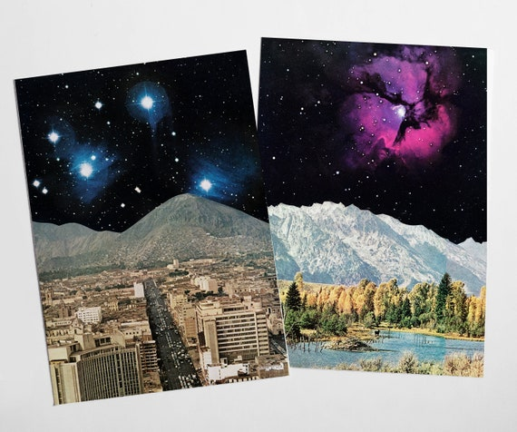 Sci fi Postcard Set, Space Art, Modern Stationery - Time and Space