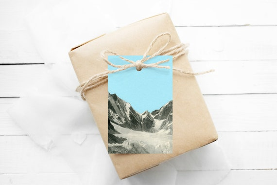 Christmas Gift Tags With String, Set of 12 Hang Tags - Blue Skies
