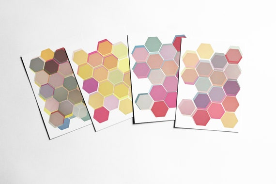 Geometric Postcards With Envelopes, Geometric Patterns, Affordable Art, Modern Stationery, Gift Ideas - Layered Honeycomb