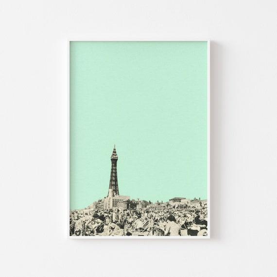 Blackpool Print, Mint Green Decor, Mid Century Wall Art - Blackpool