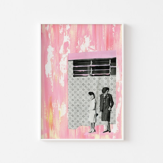 Portrait Art, Collage Print, Pink Wall Art - The Pink House