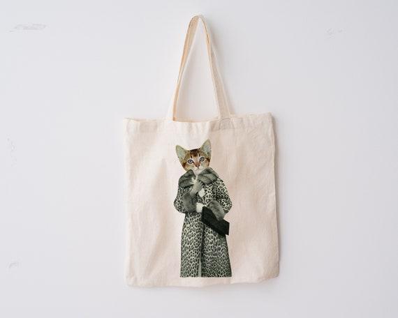 Cat Tote Bag, 100% Organic Cotton - Kitten Dressed as Cat