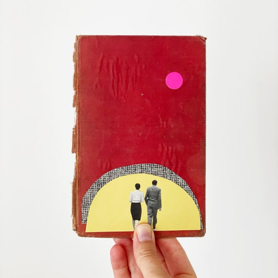 Original Paper Collage Art on Book Cover - Together