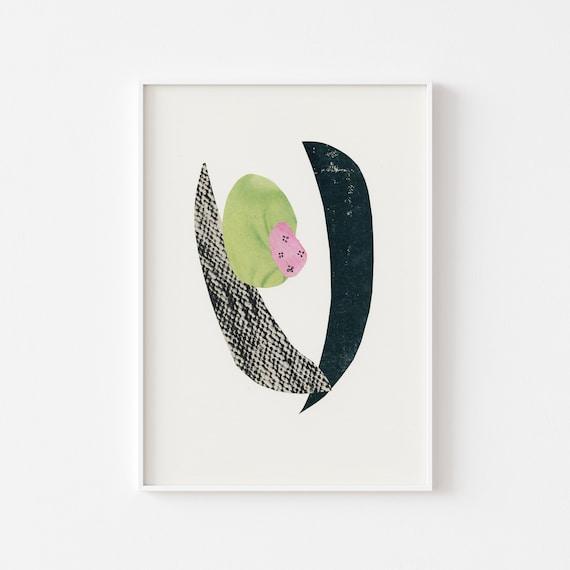 Abstract Print, Mid Century Modern Art, Organic Shape  - Abstract 017