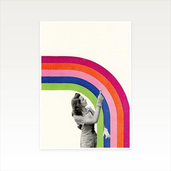 A4 Rainbow Print, Female Portrait Art, Surrealism Art, Sale Item - Paint a Rainbow