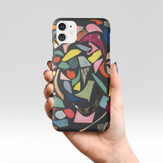 Terrazzo Phone Case, Abstract Device Cover - Black Terrazzo