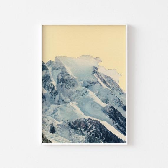 Mountain Print, Winter Print, Landscape Art, Yellow Wall Art - Avalanche