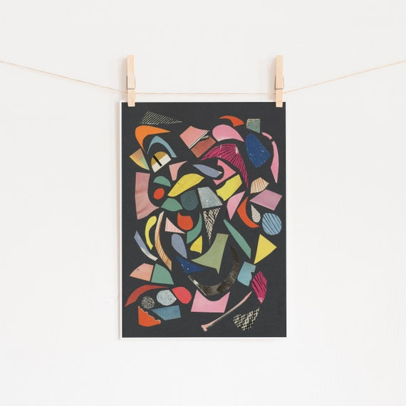 A3 Abstract Print, Mid Century Modern Art, Clearance Sale - Black Terrazzo