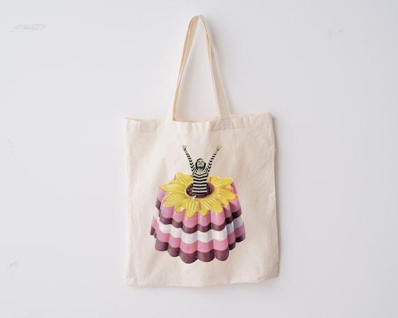 Retro Tote Bag, 100% Organic Cotton - Blancmange Surprise